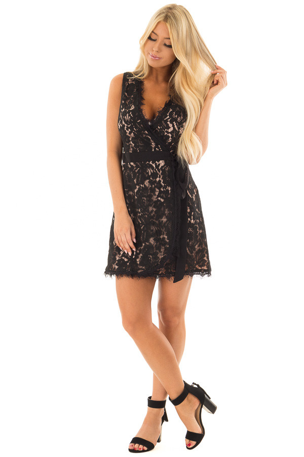 Black Overlap Waist Tie Lace Dress front full body