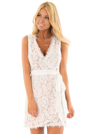 White Overlap Waist Tie Lace Dress front close up