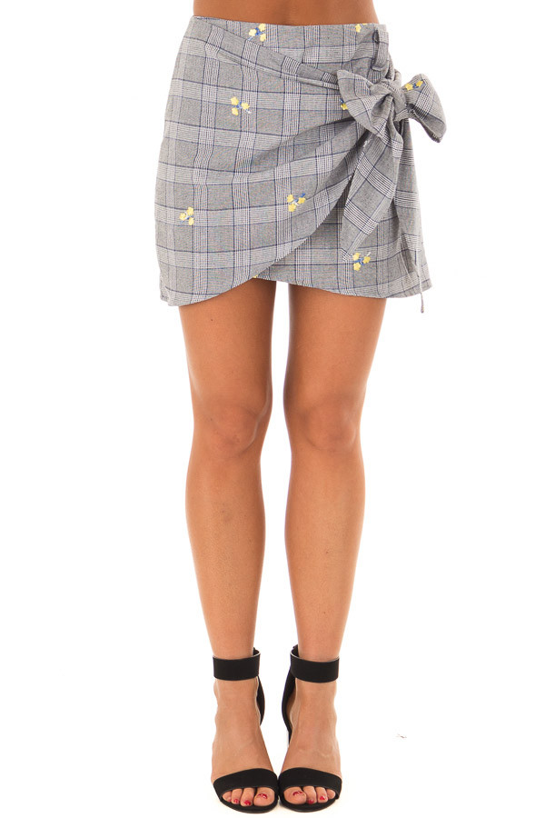 Grey Plaid Skirt with Sunshine Yellow Floral Print front view