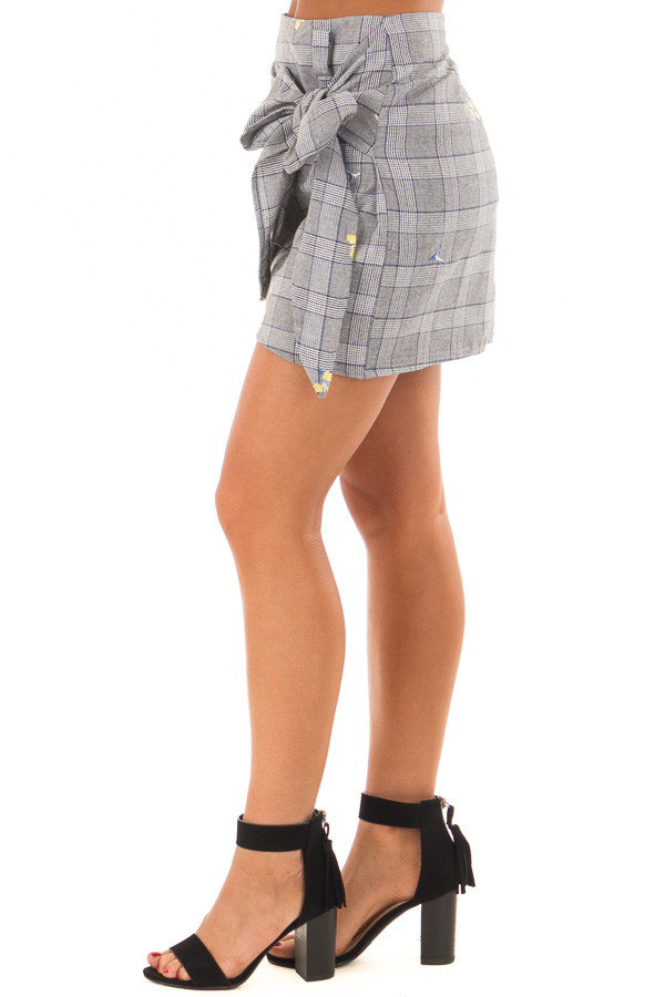 Grey Plaid Skirt with Sunshine Yellow Floral Print side view