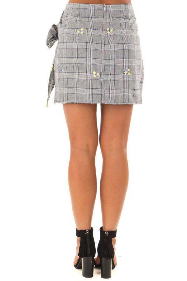 Grey Plaid Skirt with Sunshine Yellow Floral Print back view