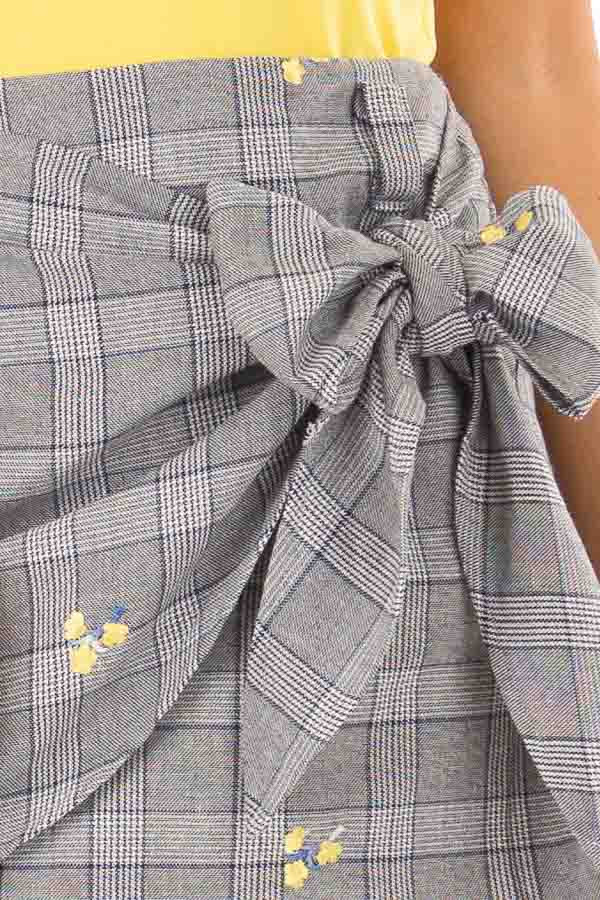 Grey Plaid Skirt with Sunshine Yellow Floral Print detail