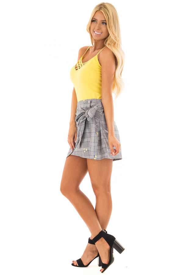 Grey Plaid Skirt with Sunshine Yellow Floral Print side full body