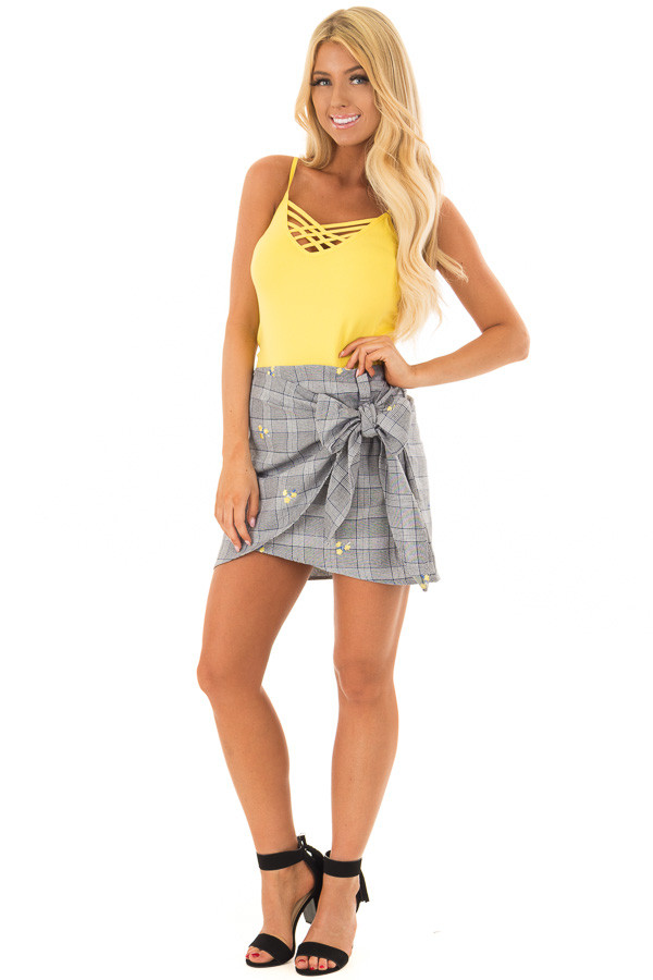 Grey Plaid Skirt with Sunshine Yellow Floral Print front full body