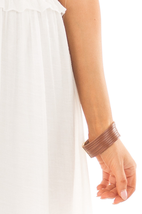 Brown Faux Leather Strappy Bracelet with Magnetic Closure