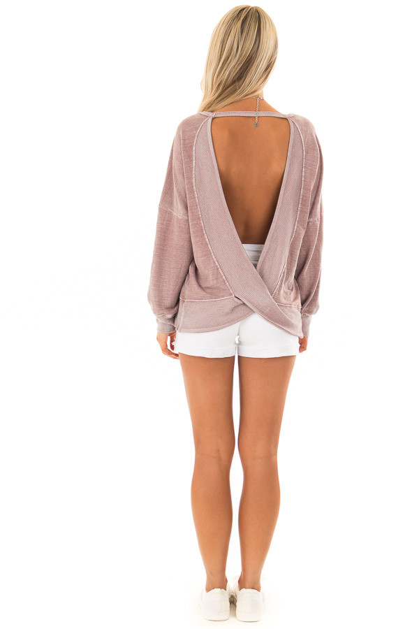 Dusty Rose Top with Open Back Detail back full body