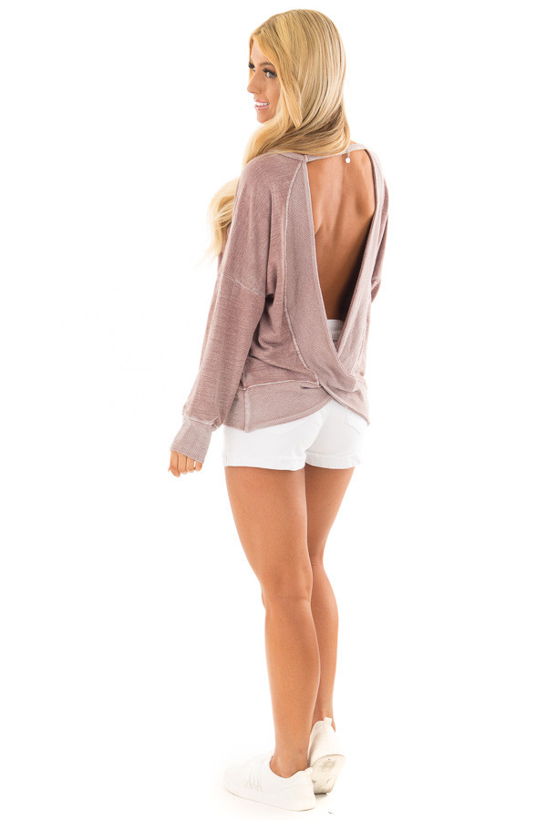 Dusty Rose Top with Open Back Detail back side full body