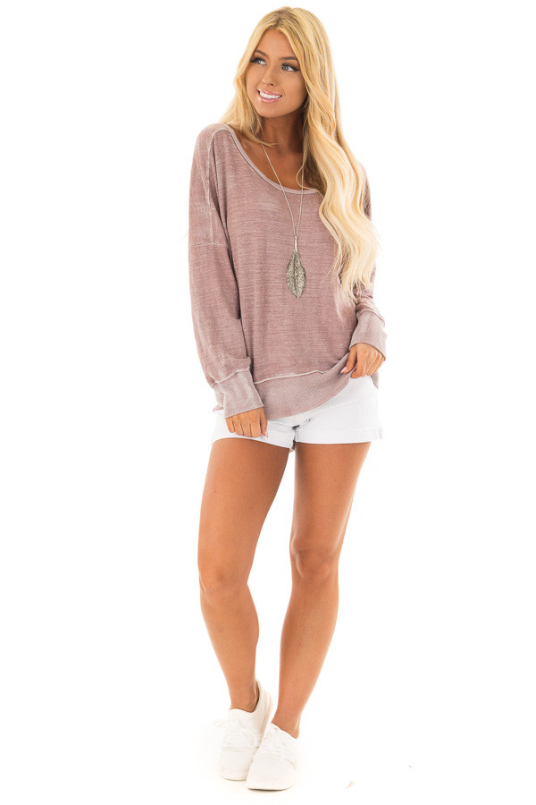 Dusty Rose Top with Open Back Detail front full body