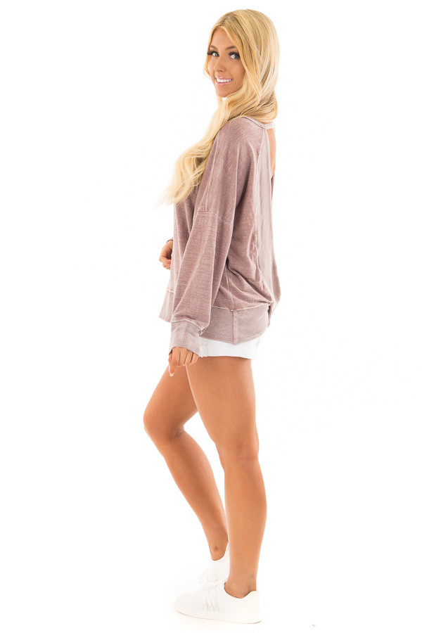 Dusty Rose Top with Open Back Detail side full body