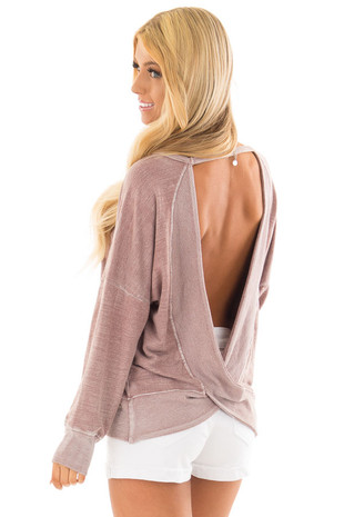 Dusty Rose Top with Open Back Detail back side close up