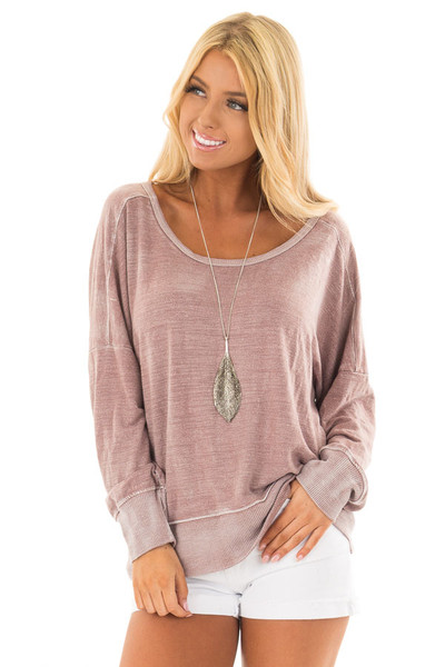 Dusty Rose Top with Open Back Detail front close up