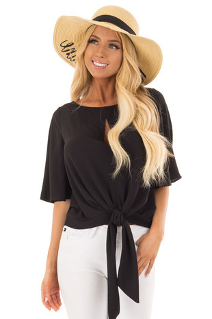Black Keyhole Blouse with Front Tie Detail front close up