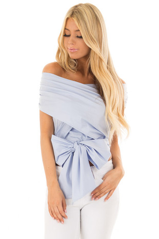 Periwinkle Criss Cross Blouse with Wrap Around Bow front close up