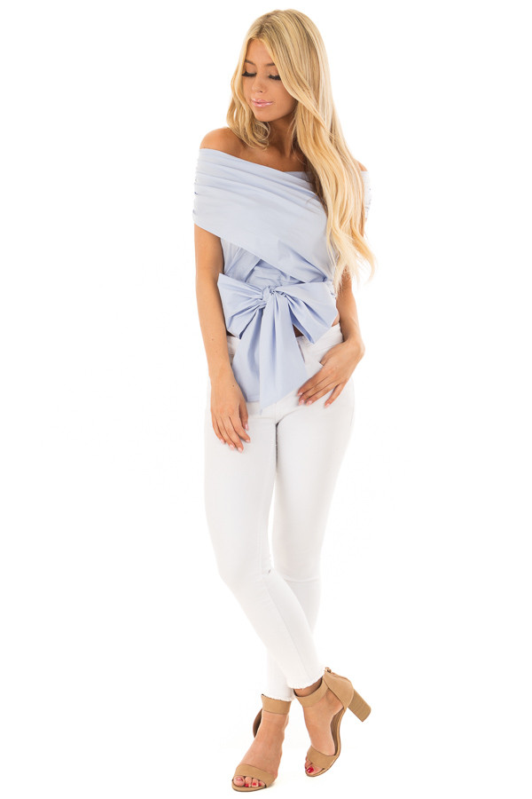 Periwinkle Criss Cross Blouse with Wrap Around Bow front full body