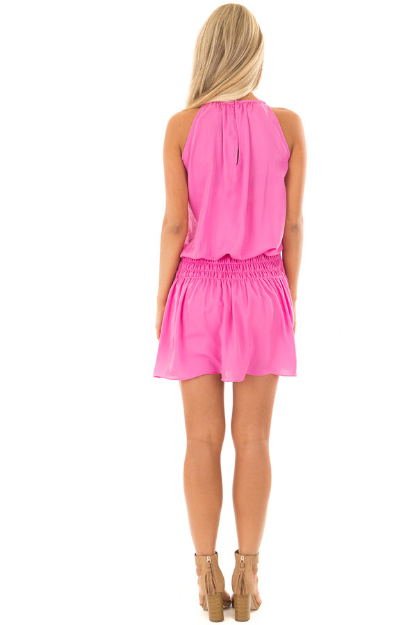Hot Pink Dress with Smocked Waistline back full body