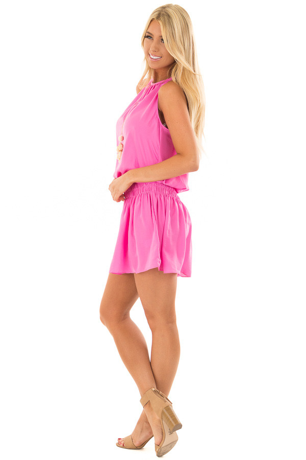 Hot Pink Dress with Smocked Waistline side full body