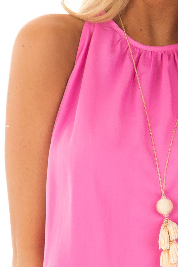 Hot Pink Dress with Smocked Waistline detail