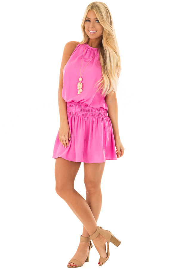 Hot Pink Dress with Smocked Waistline front full body