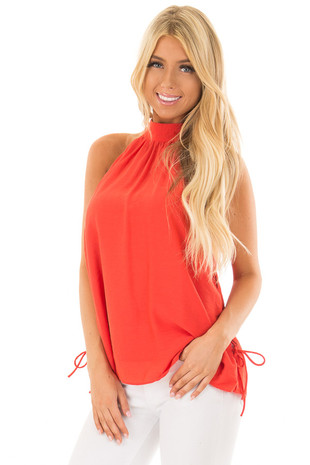 Tomato Tank Top with Lace Up Sides and Tie Back front close up
