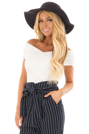 Off White Criss Cross Wrap Style Top front close up