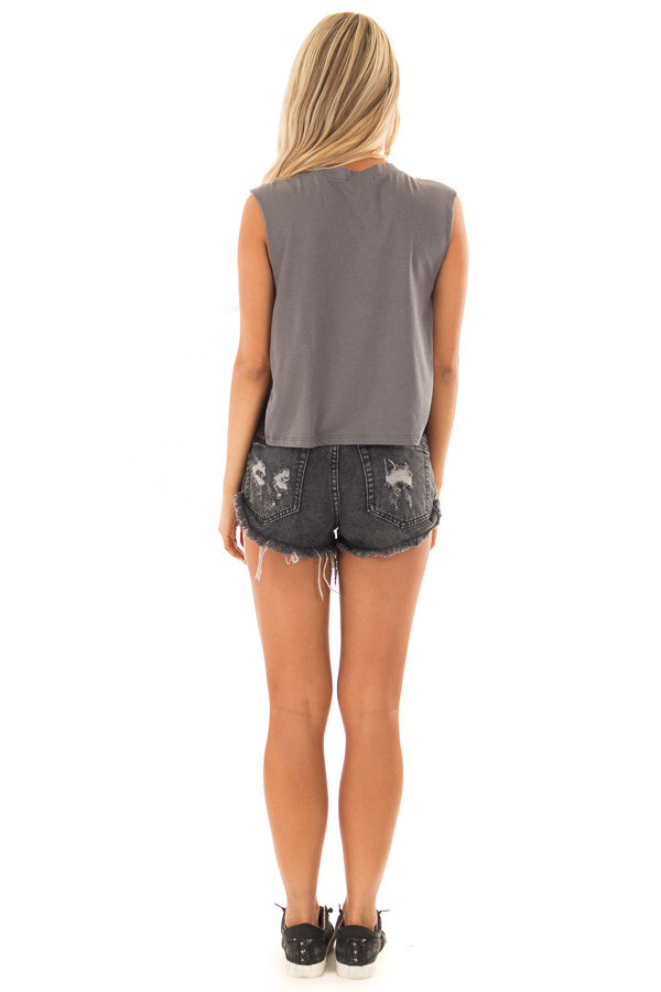 Charcoal Desert Graphic Tank Top with Lace Sides back full body