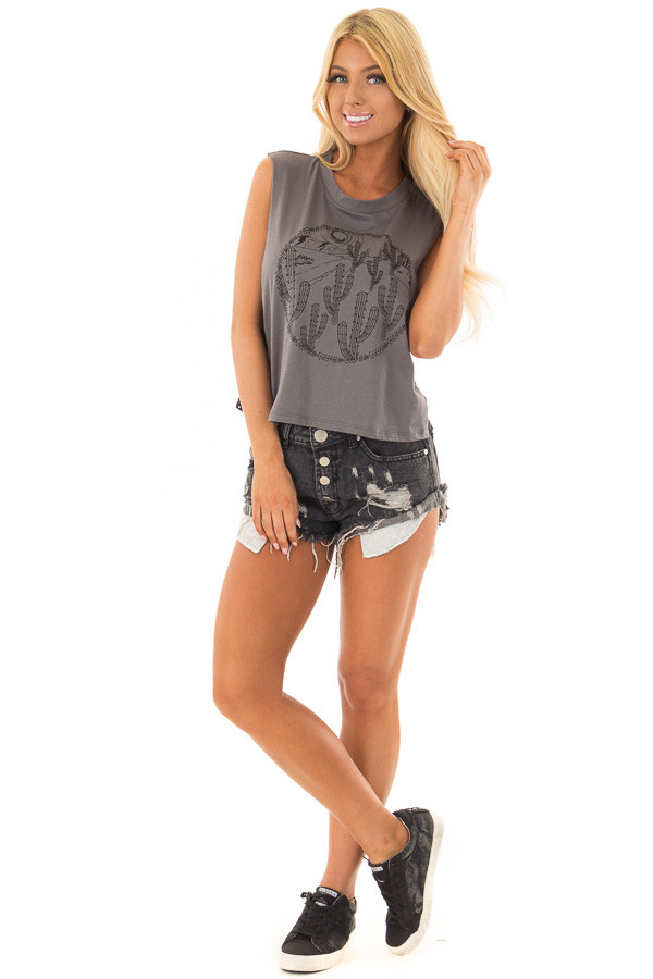 Charcoal Desert Graphic Tank Top with Lace Sides front full body