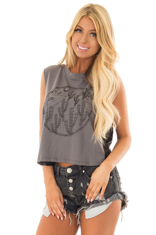 Charcoal Desert Graphic Tank Top with Lace Sides front close up