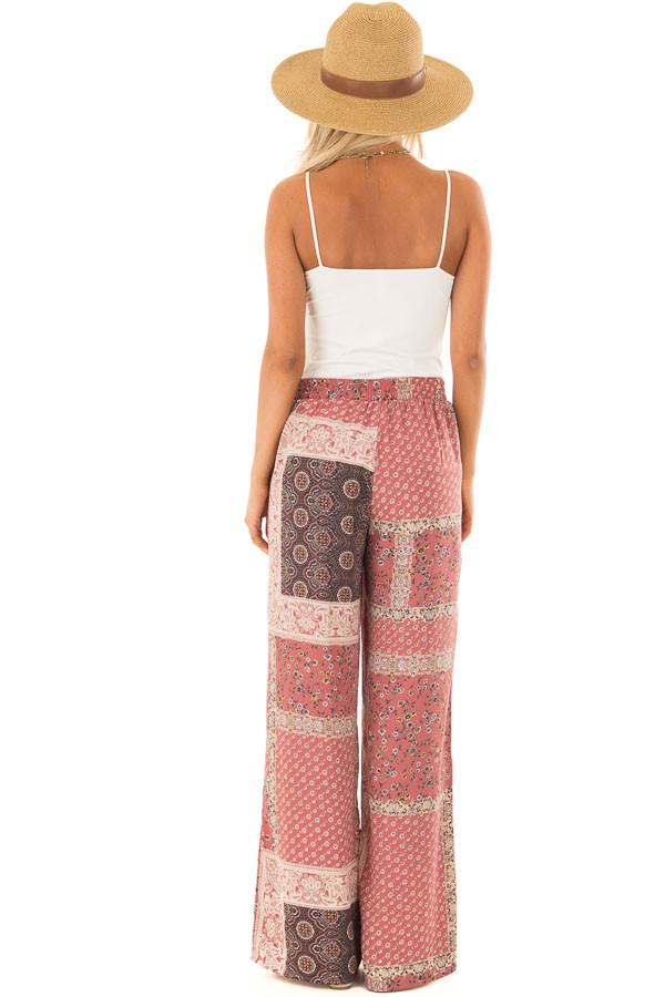 Dusty Rose Boho Wide Leg Pants with Patchwork Print back full body