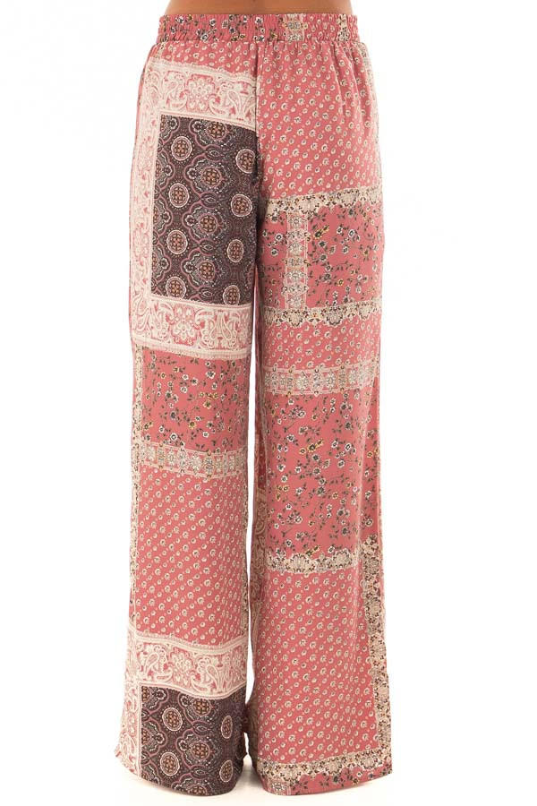 Dusty Rose Boho Wide Leg Pants with Patchwork Print back view