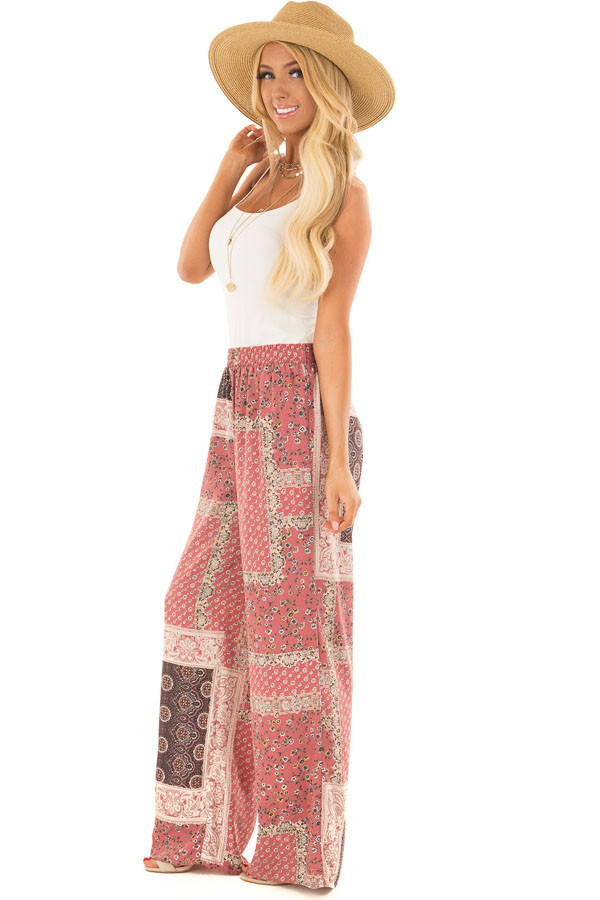 Dusty Rose Boho Wide Leg Pants with Patchwork Print side full body