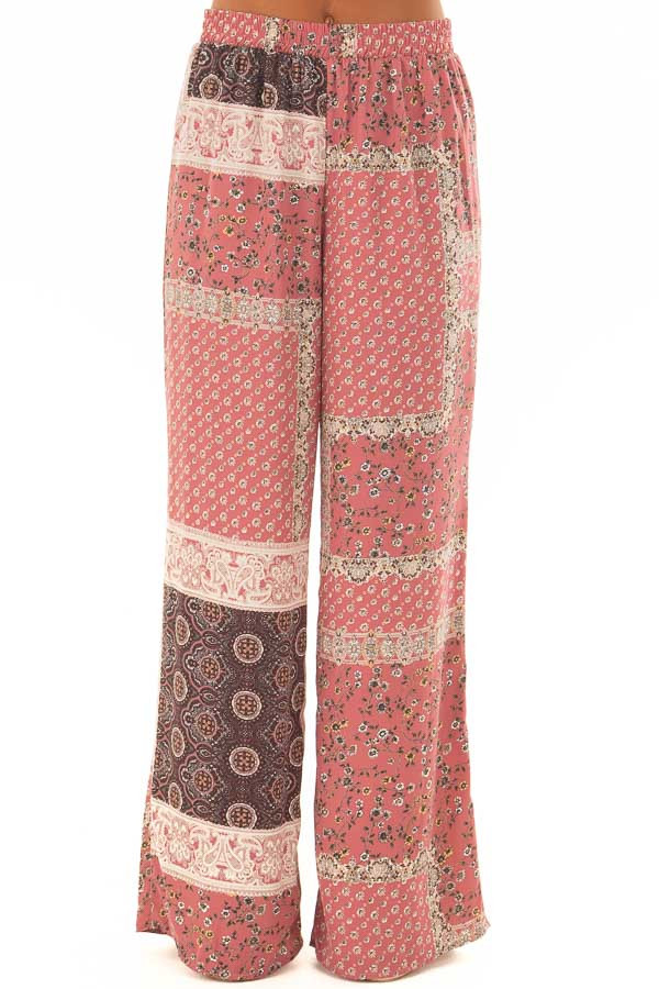 Dusty Rose Boho Wide Leg Pants with Patchwork Print front view