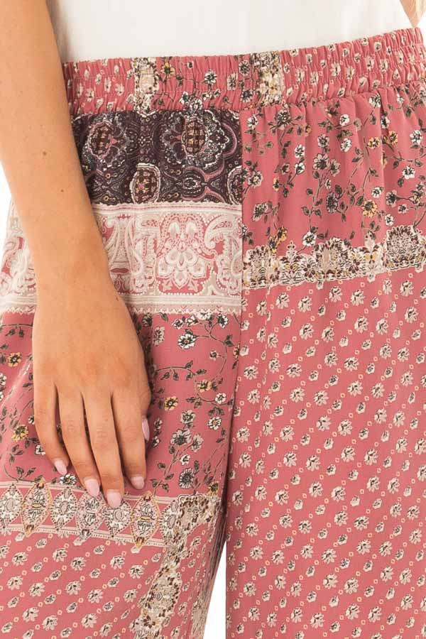 Dusty Rose Boho Wide Leg Pants with Patchwork Print detail