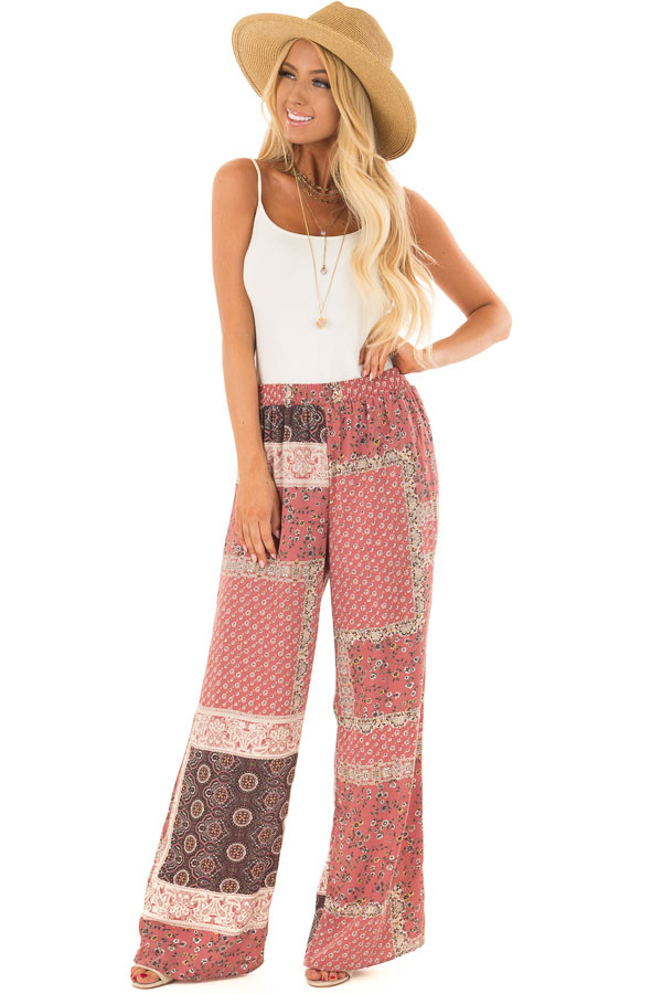 Womens Fashion Red patchwork wide leg trousers Sale No 1280