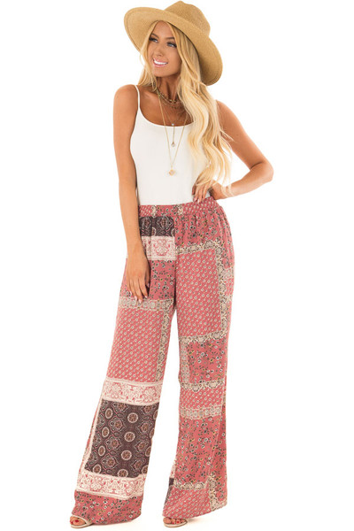 Dusty Rose Boho Wide Leg Pants with Patchwork Print front full body