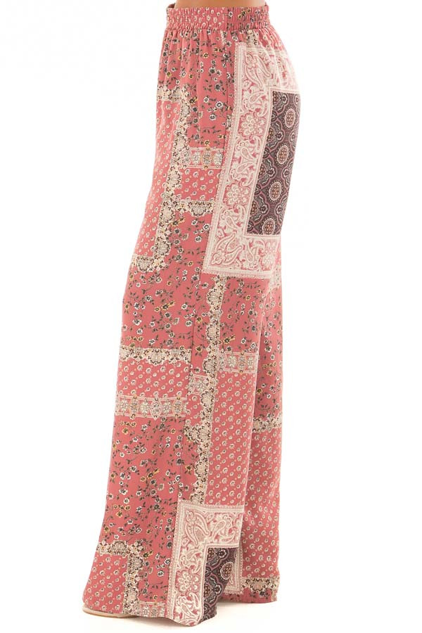 Dusty Rose Boho Wide Leg Pants with Patchwork Print side view