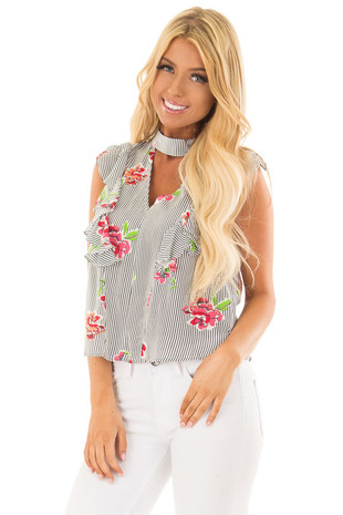 Navy Striped Floral Print Top with Ruffle Details front close up