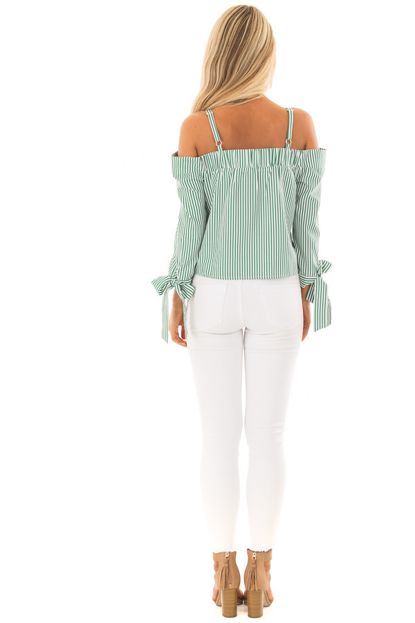 Leaf Green Striped Cold Shoulder Top with Sleeve Ties back full body