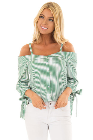 Leaf Green Striped Cold Shoulder Top with Sleeve Ties front close up