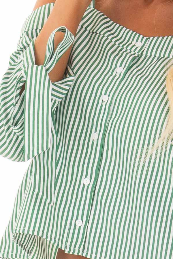 Leaf Green Striped Cold Shoulder Top with Sleeve Ties detail