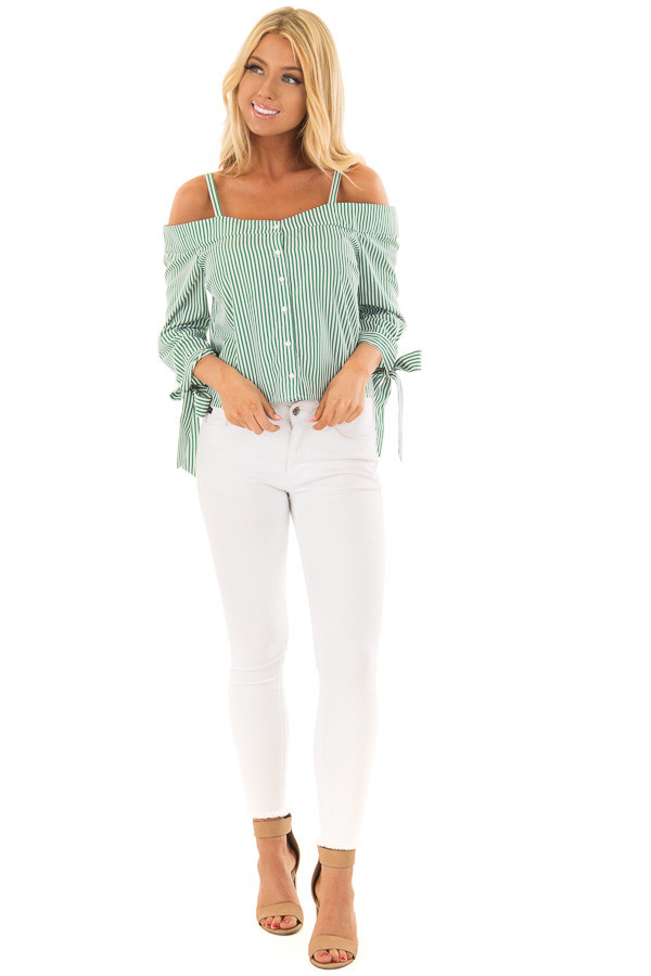 Leaf Green Striped Cold Shoulder Top with Sleeve Ties front full body
