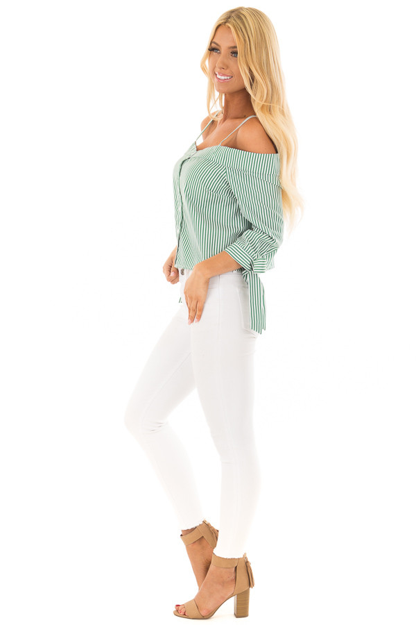 Leaf Green Striped Cold Shoulder Top with Sleeve Ties side full body