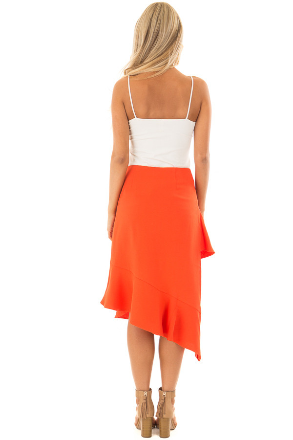 Sunset Orange Asymmetrical Skirt with Layered Ruffles back full body