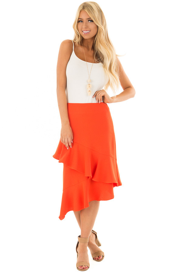 Sunset Orange Asymmetrical Skirt with Layered Ruffles front full body