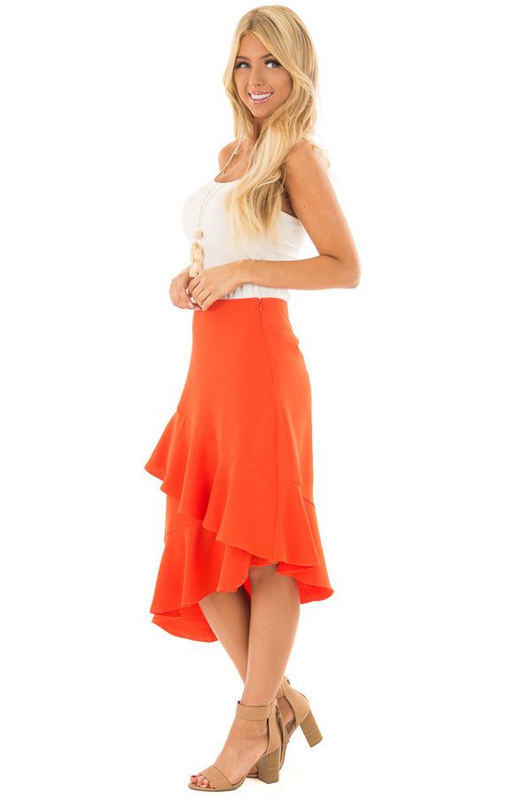 Sunset Orange Asymmetrical Skirt with Layered Ruffles side full body