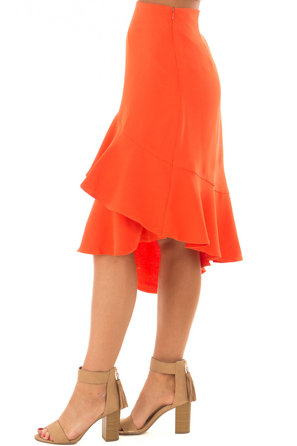 Sunset Orange Asymmetrical Skirt with Layered Ruffles side view