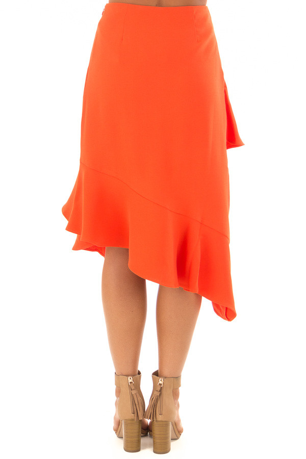 Sunset Orange Asymmetrical Skirt with Layered Ruffles back view
