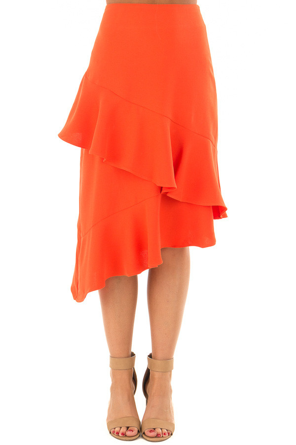 Sunset Orange Asymmetrical Skirt with Layered Ruffles front view