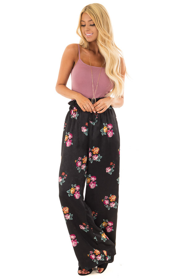 Black Satin Floral Print Wide Leg Pants front full body