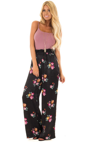 Black Satin Floral Print Wide Leg Pants front close up