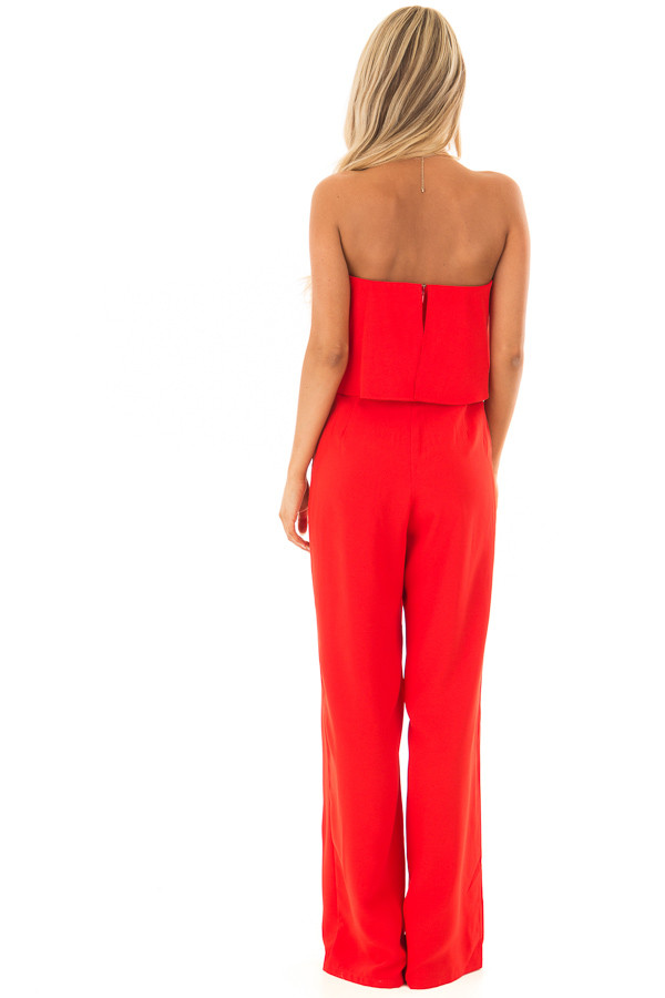 Candy Apple Red Sleeveless Jumpsuit with Bust Overlay back full body